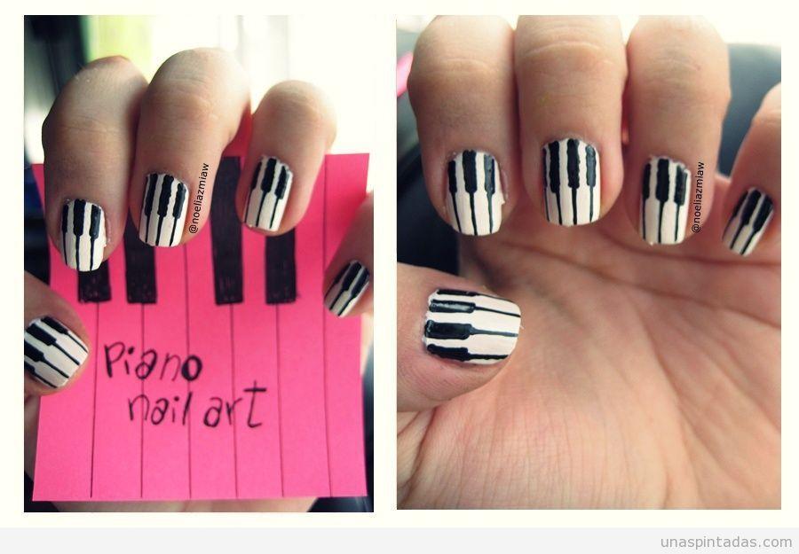 Diseño de uñas con dibujos de las teclas de un piano | Nails ...