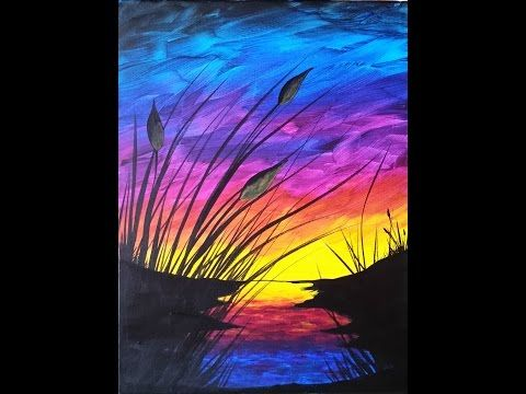 Sunset And Cattails Reboot Step By Step Acrylic Painting On Canvas