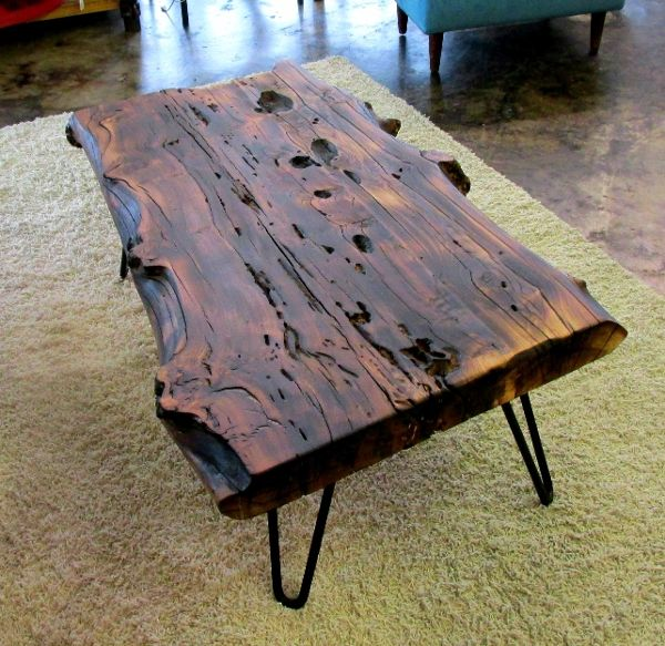 Coffee Table Made Out Of Tree: Make By A Local Craftsman Out Of Cedar Elm, This