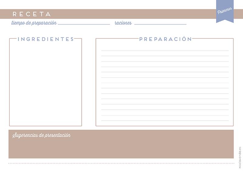 Fichas recetas cerca amb google bullet jornals for Plantillas de cocina