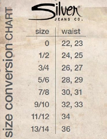 Silver Jeans Sizing Conversion Google Search Garb Silver Jeans