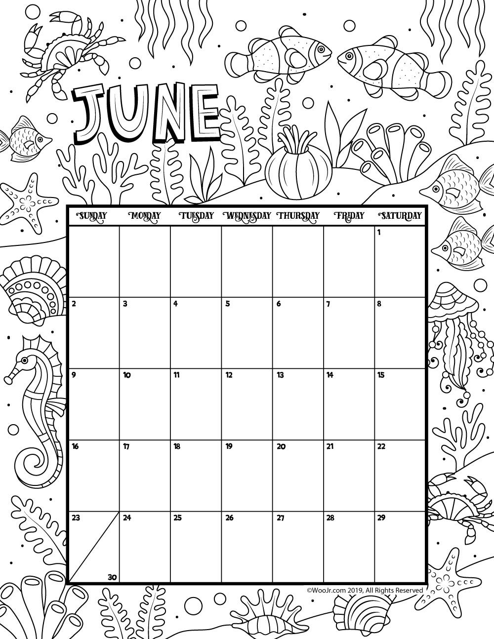 June 2019 Coloring Calendar Woo Jr Kids Activities Coloring Calendar Kids Calendar Calendar Pages