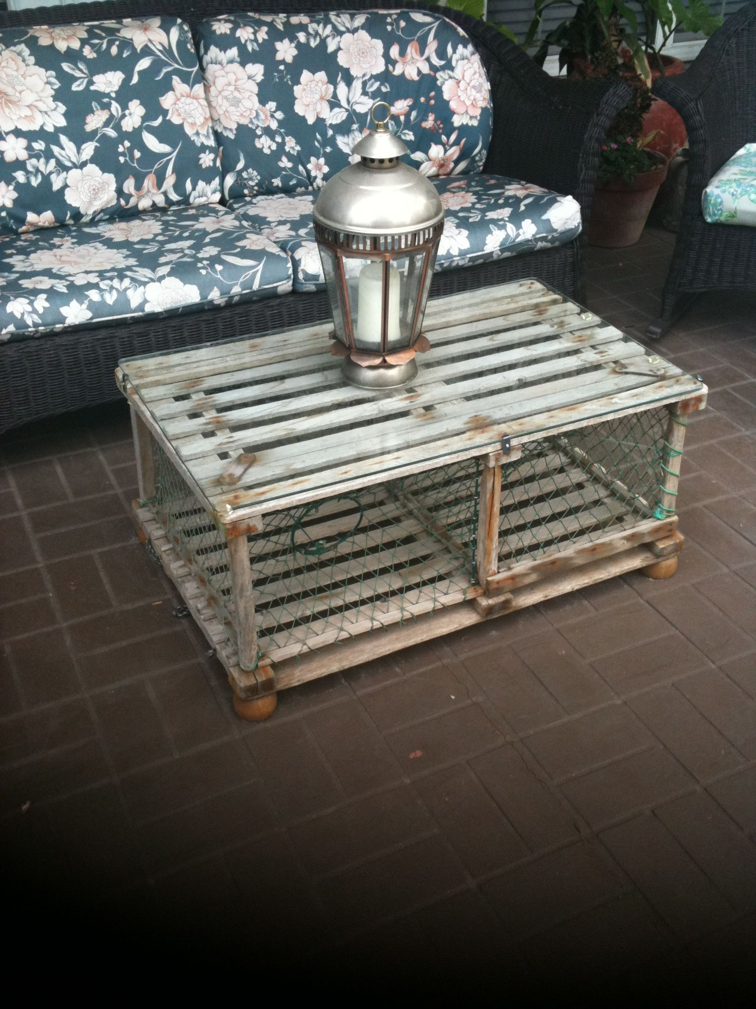Old Crab Trap Made Into An Outdoor Coffee Table Dad This One Love It
