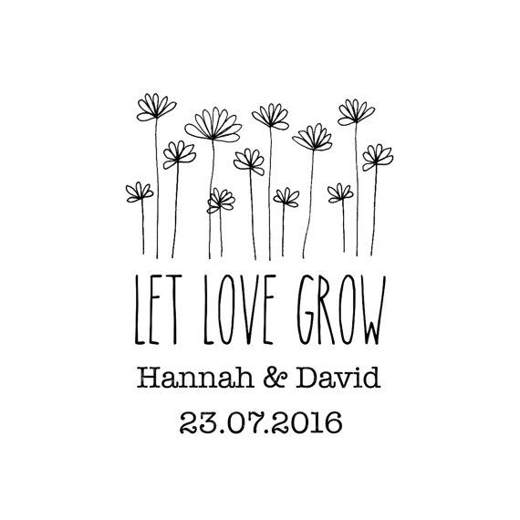 Let Love Grow Stamp, Save The Date Stamp, Wedding Stamp