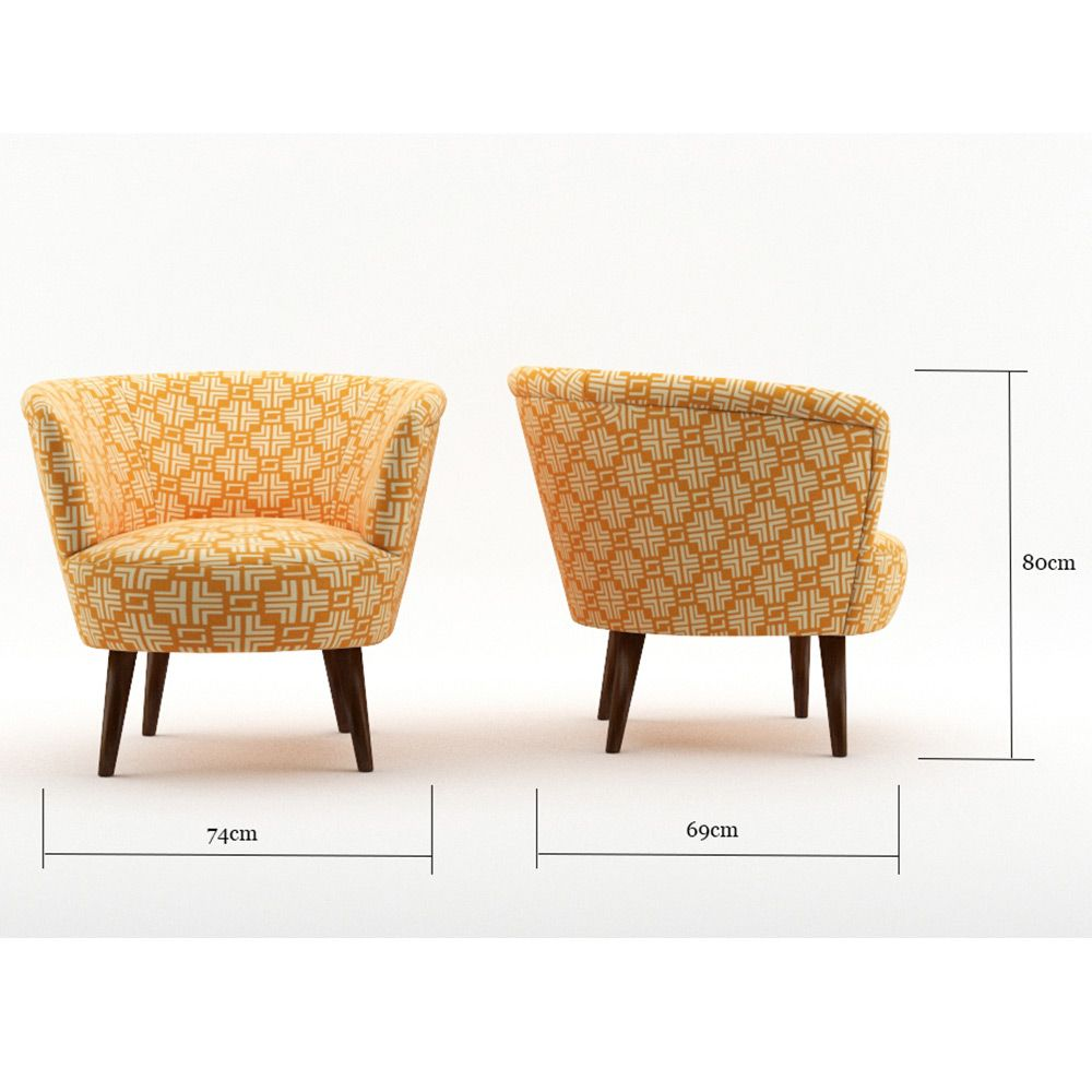 Nora tangerine gold print xxcm by best selling accent