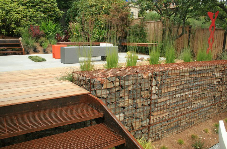 Stone gabions; Gabions can be used as retaining walls, but theyu0027re