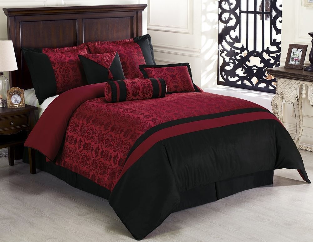 7pcs Oriental Dynasty Black Red Jacquard Comforter Set Bed In A