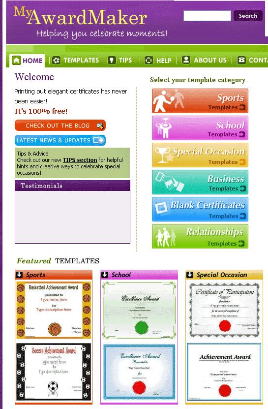Myawardmaker free custom certificate templates certificate custom certificate templates yelopaper Choice Image