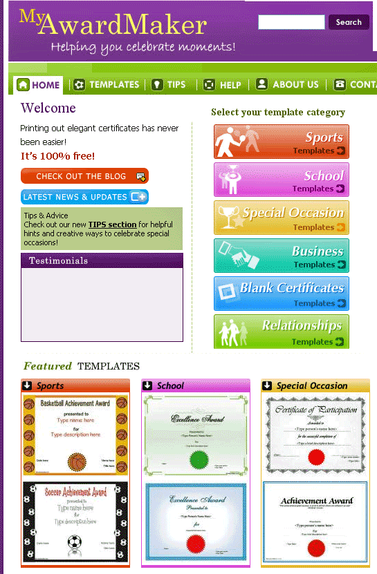 myawardmaker free custom certificate templates party stuff