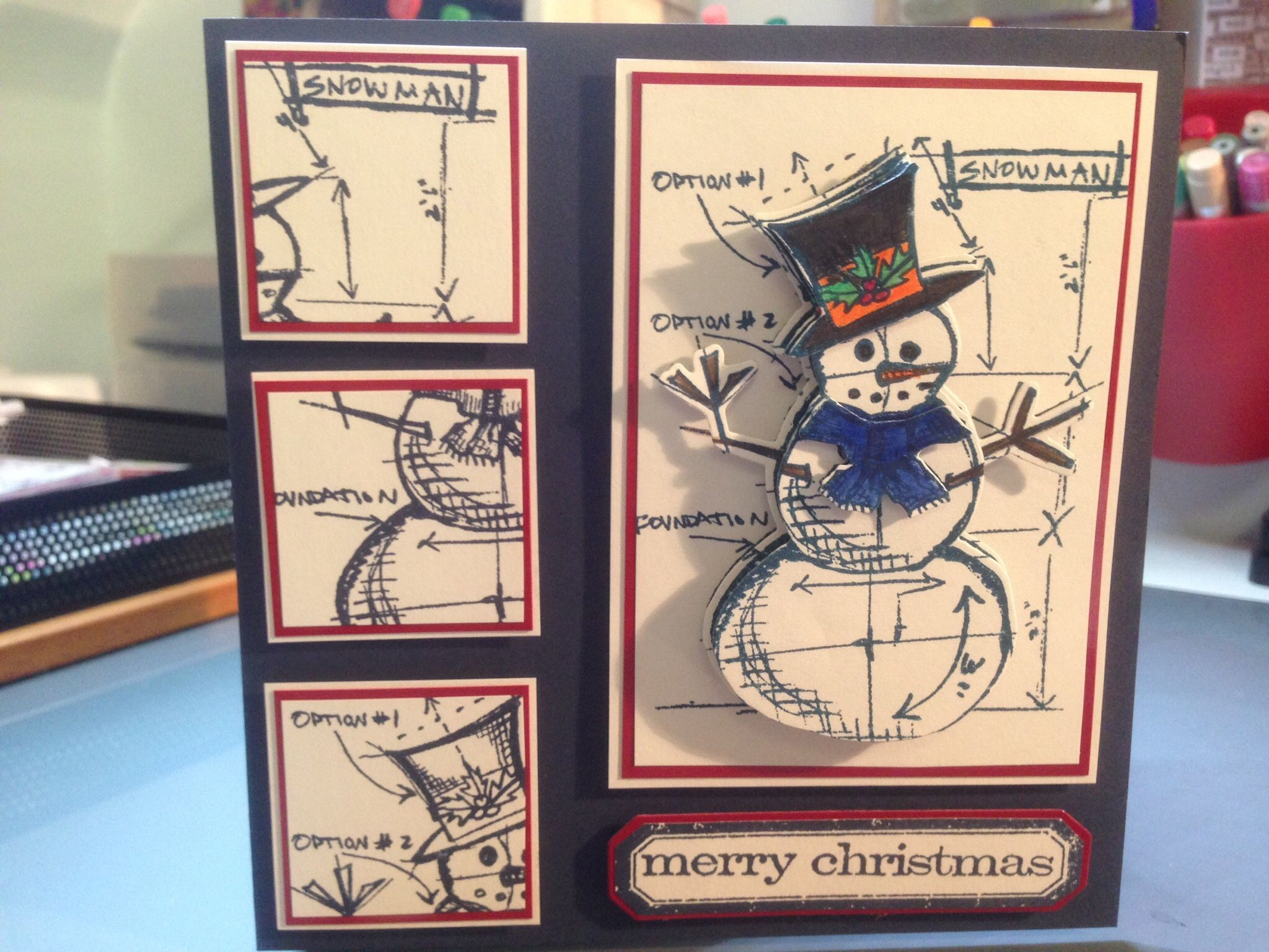 Tim Holtz blueprint snowman 2
