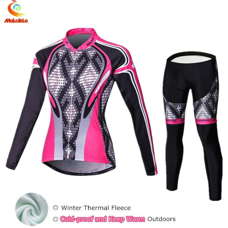 2018 Black Pink Winter Fleece Cycling Jersey Set Women s Bicycle Cycling  Clothing Bike Wear Maillot Ropa Ciclismo Mujer Suit. Yesterday s price  US   58.45 ... 517ad75a5