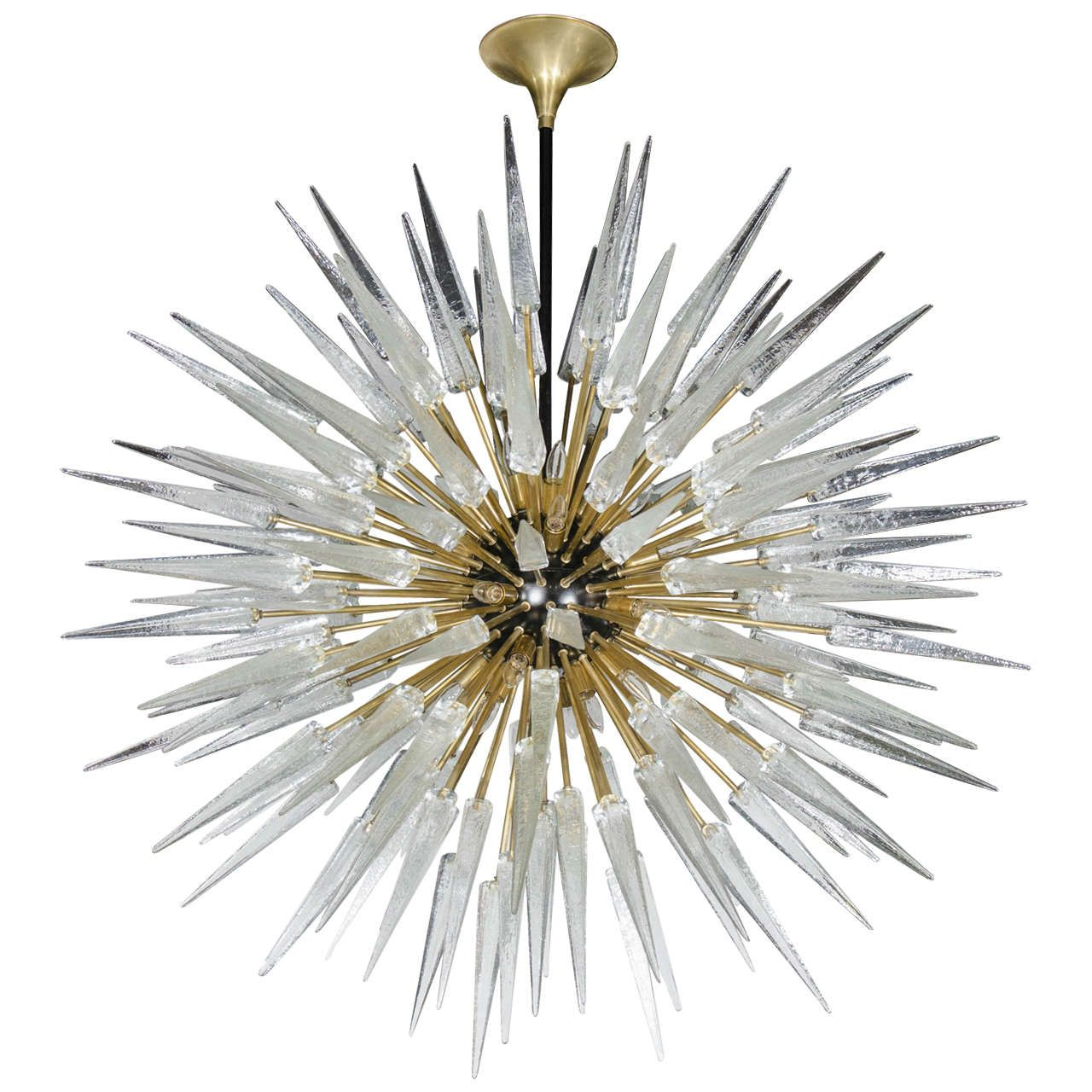 impressive and monumental murano glass spiked starburst chandelier - Starburst Chandelier