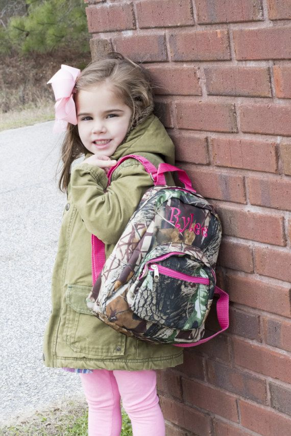 Monogrammed Girl Mini Toddler Baby backpack Hunters by D84Designs ... 7b5b805979261