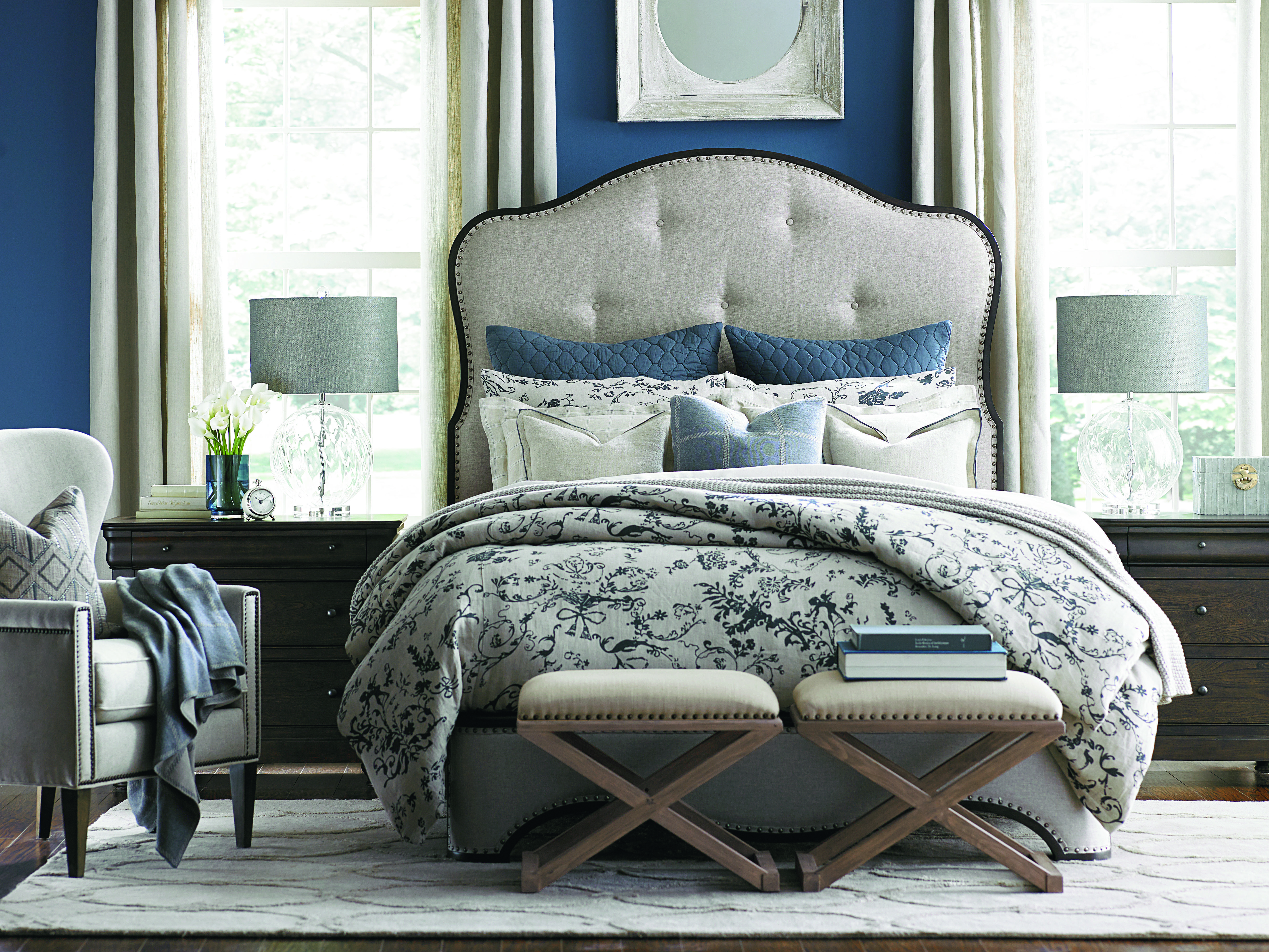 A mixture of blues and whites give this Bassett bedroom