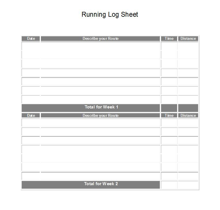 Printable Running Log Sheet Fitness Logs Journals Runners Excel