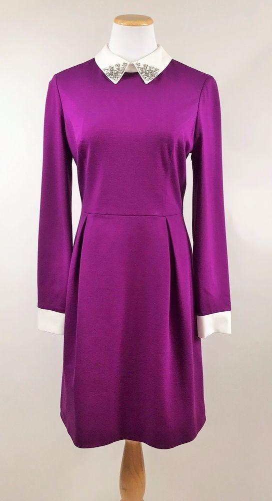 a35b4644e Ted Baker  Moona  Embellished Collar Dress Ponte Knit  259 TB 4 US 10 12  NWT  TedBaker  WeartoWork  purple
