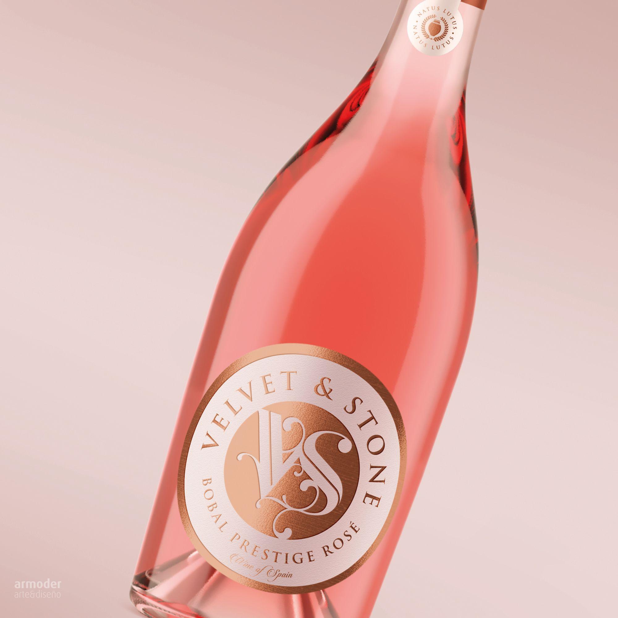 Diseno Logo Marca Etiqueta Vino Velvet Stone On Behance Wine Bottle Pisco Rose Wine Bottle