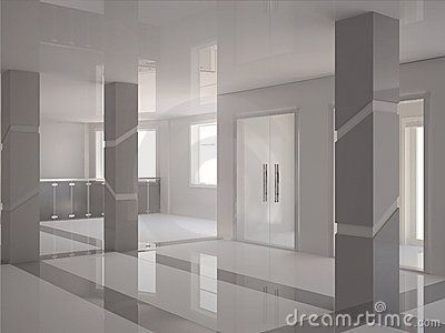 contemporary house pillar | Stock Image: Hall with modern ...