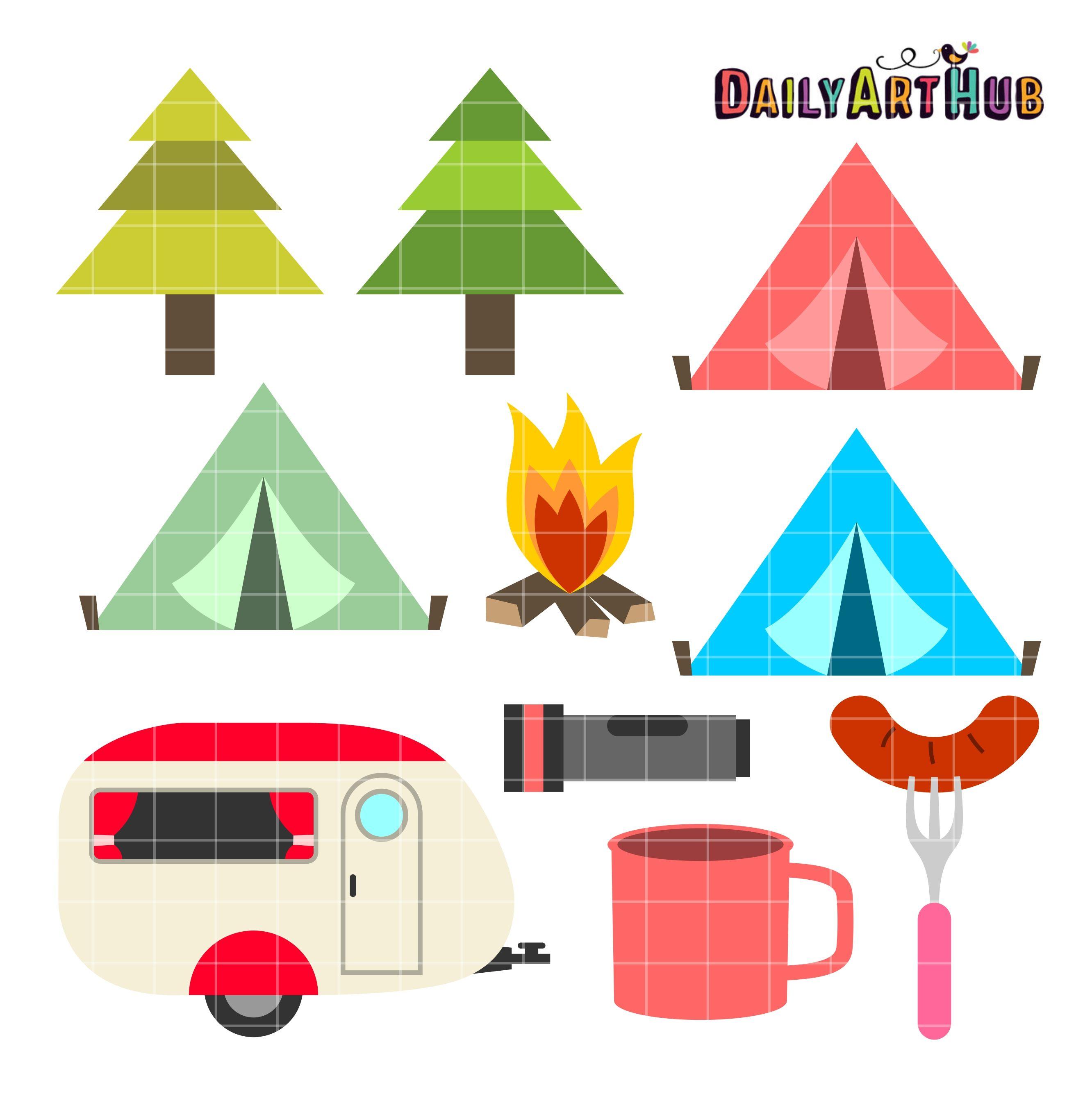 Camping Season Clip Art Set Camping Art Camping Clipart Clip Art