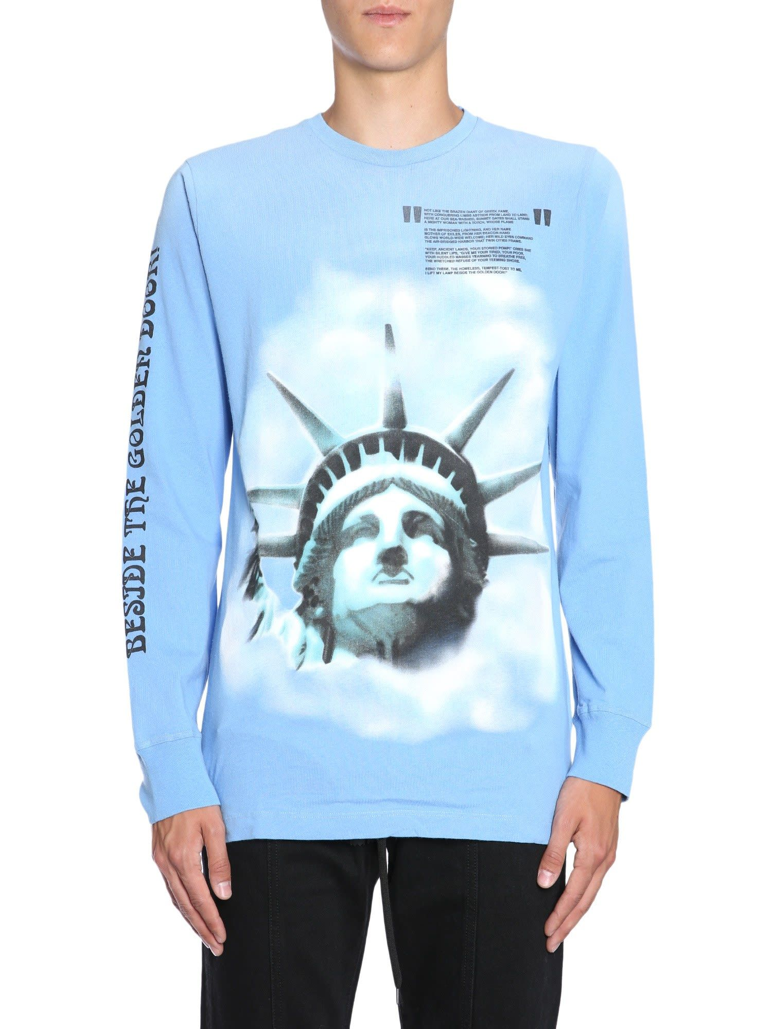 Off White Printed Brushed Cotton Jersey T Shirt In Baby Blue Modesens Off White Clothing Off White Sweatpants Off White Long Sleeve