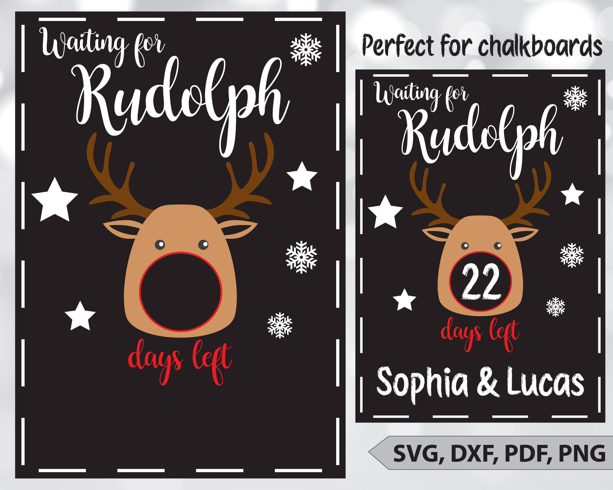 Christmas countdown SVG Rudolph chalkboard dxf Days until