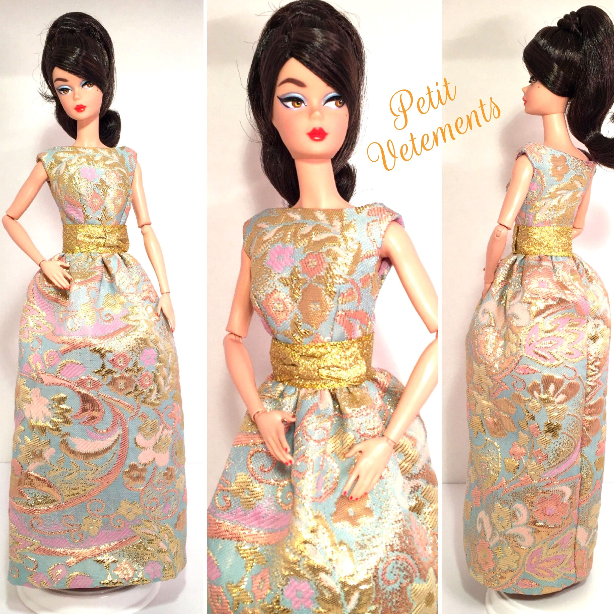 Ooak handmade pastel brocade gown for silkstone model muse and