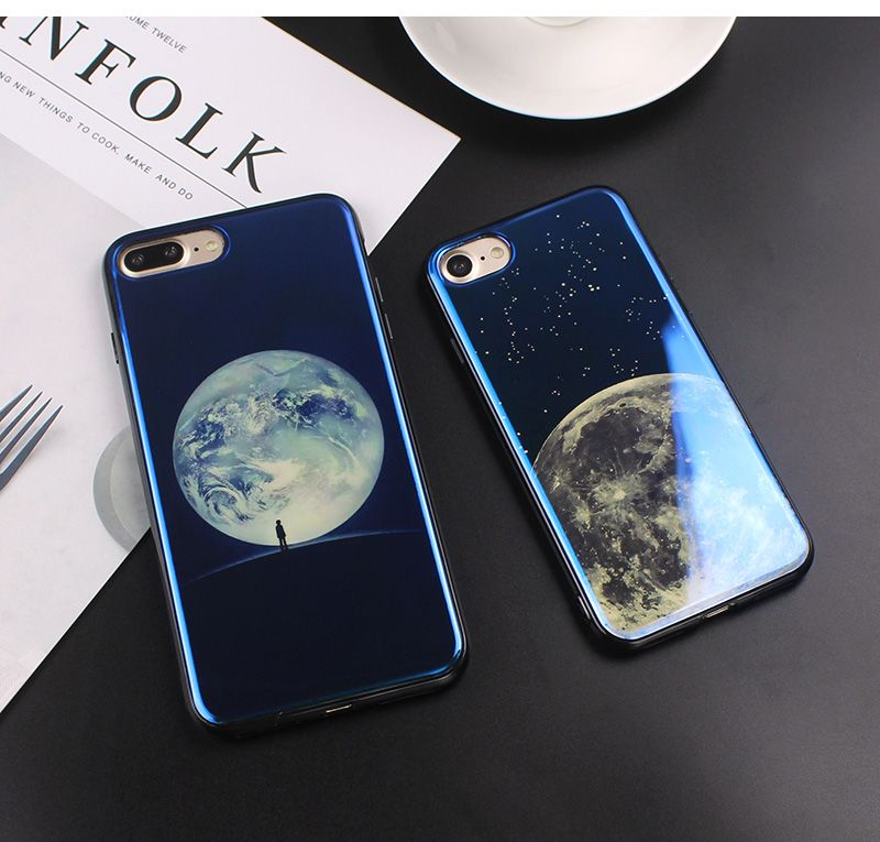 e395793ddcd5fe Cheap iPhone 7 Case Moon Planet Space iPhone X 6 6s 7 8 Cover. Electroplate Blue  Light Soft Phone ...