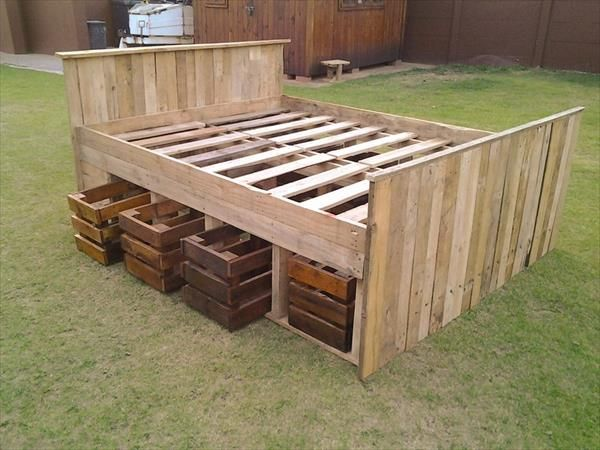 diy pallet bed design ideas | pallet bed frames, bed frames and
