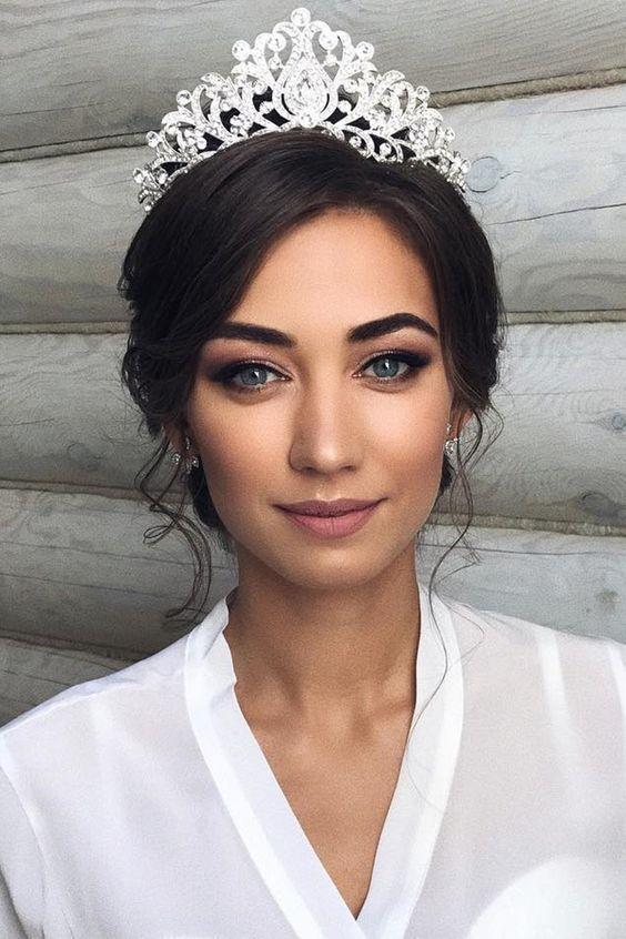 Ideas de maquillaje de novia; Maquillaje de boda para ojos marrones; ojos azules Boda …