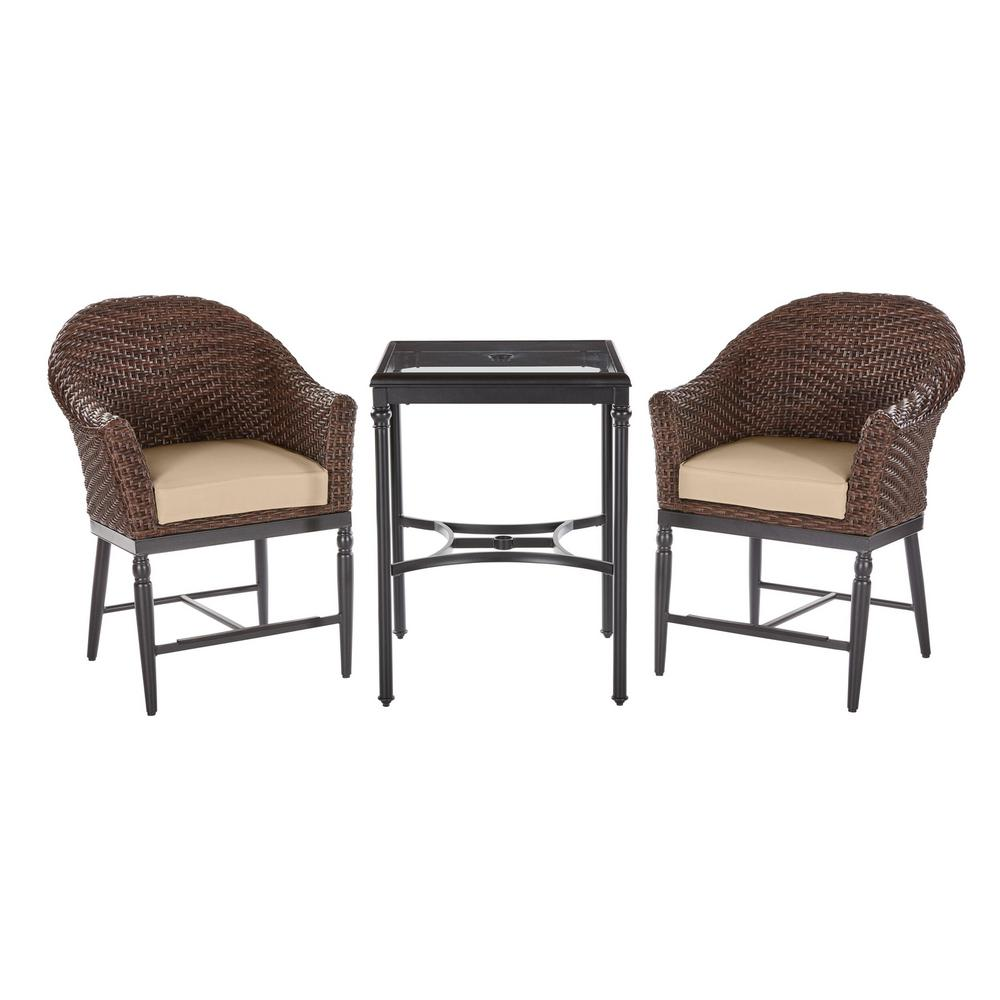 Home Decorators Collection Camden 3 Piece Dark Brown Wicker Outdoor Patio Balcony Height Bistro Set With Cushionguard Toffee Solid Cushions H059 01523600 The In 2020 Bistro Set Green Cushions Blue Cushions
