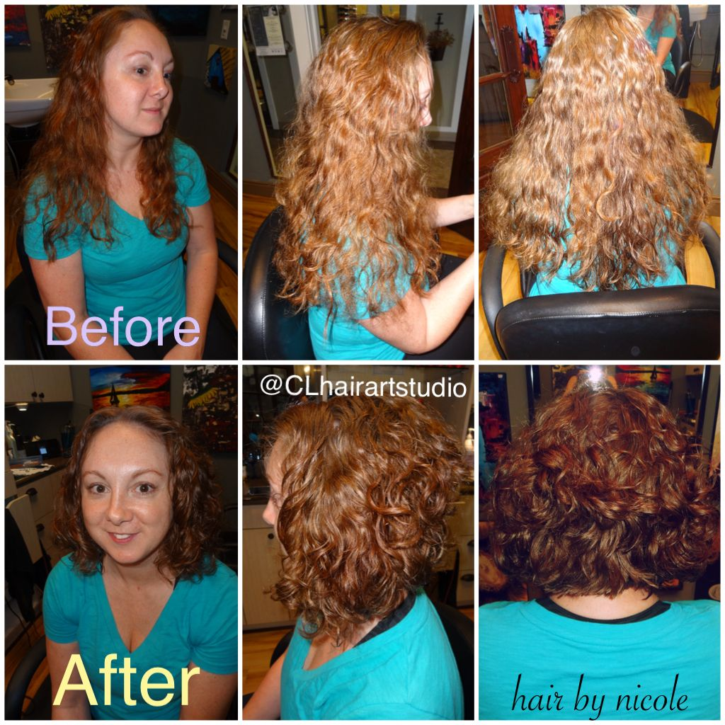 40 awesome short haircuts for curly hair sloe - Long Hair To A Short Angle Bob Before And After Haircut