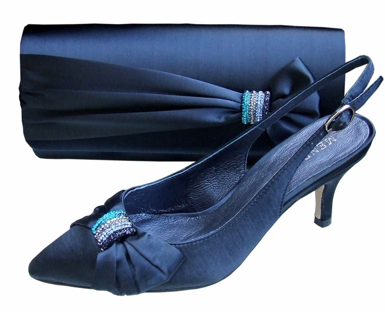 Ladies menbur navy satin u diamante low heel shoe shoes