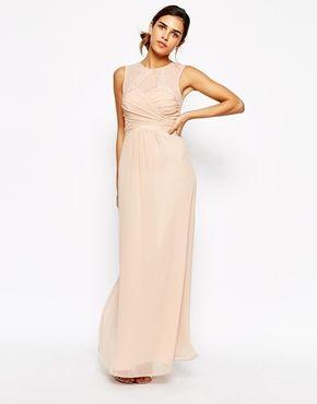 Elise Ryan Ruched Bodice Maxi Dress With Eyelash Lace Trim