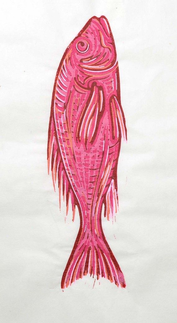 red snapper linocut by una dila arts