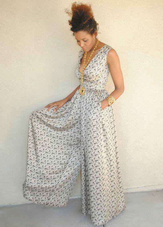 19d01ec9f08 vintage inspired black dressy WIDE LEG jumpsuit. Boho Bohemian Pant. BOAT  print. deep-v plunge neck