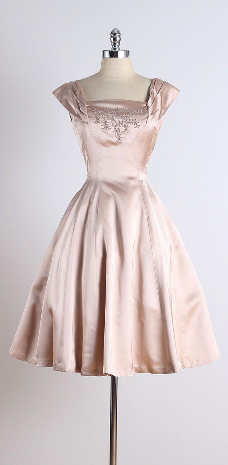 1950s Ellen Kaye Satin Soutache Cocktail Dress Vintage