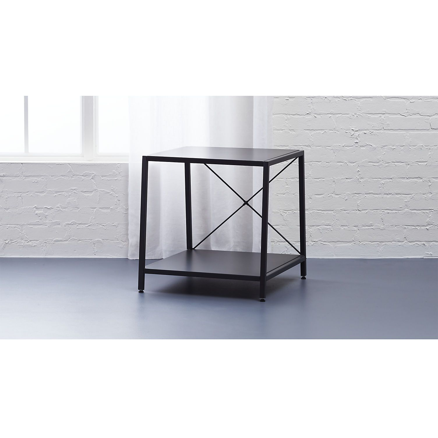 Shop harvey carbon grey nightstand. Architectural X-brace