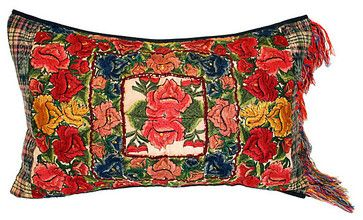 Vintage Guatemalan Embroidered Pillow eclectic pillows