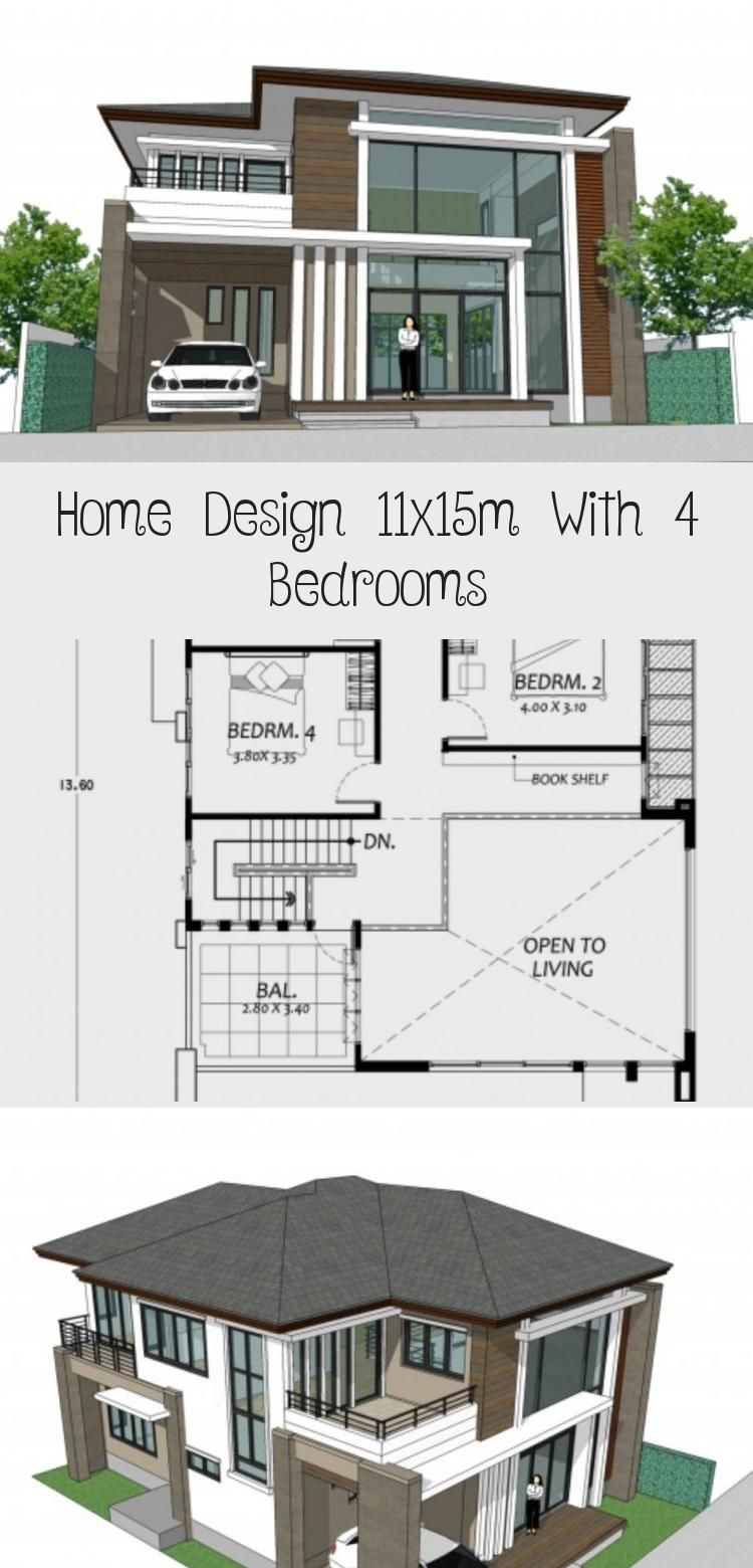 Home Design 11x15m With 4 Bedrooms Home Planssearch Floorplans4bedroom1800sqft Floorplans4bedroom3000 In 2020 House Design Modern Architecture Floor Plan 4 Bedroom