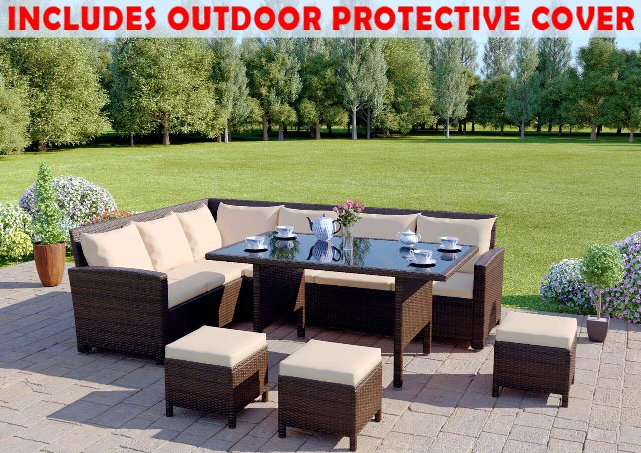 Abreo 9 Seater Rattan Corner Garden Sofa Dining Set Furniture Includes Protective Cover Black Brown Dark Mixed Grey With Light Cushions