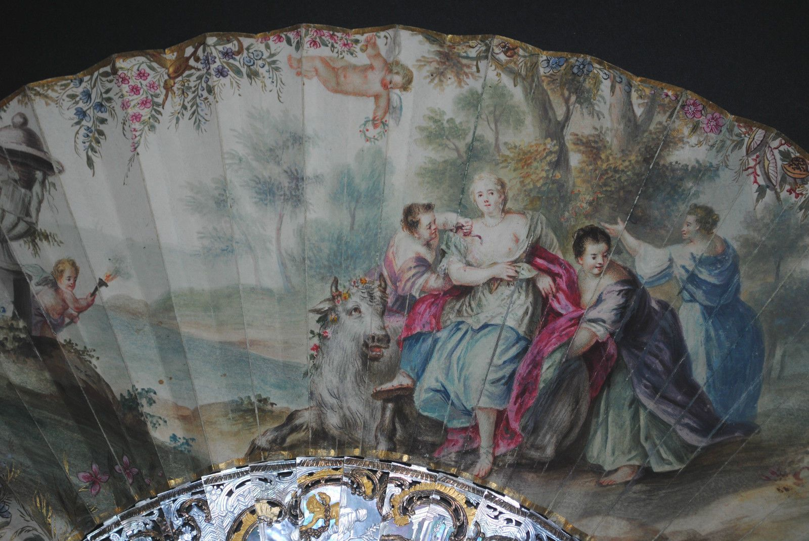 AMAZING ANTIQUE FRENCH 18TH LOUIS XV MOTHER OF PEARL ENAMELED HAND PAINTED FAN | eBay