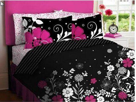 Pink Black Teen Girls Queen Comforter Sheet Set (7 Piece Bed In A Bag)