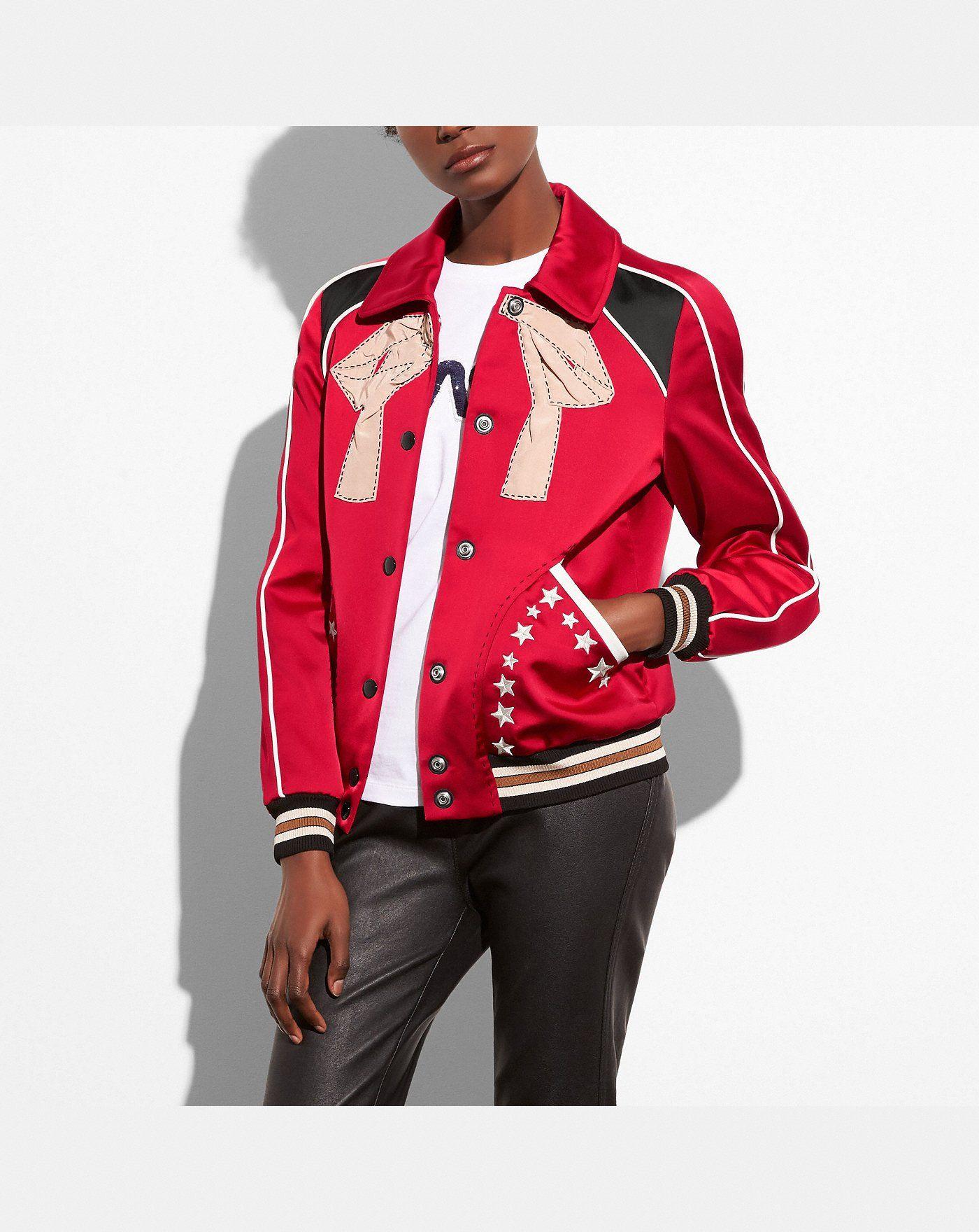 Embroidered varsity souvenir jacket Satin bomber jacket