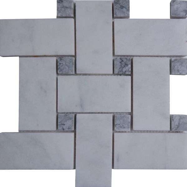 Best Large Basketweave Tile Mosaic Imperial Carrara Grey Dot In 400 x 300