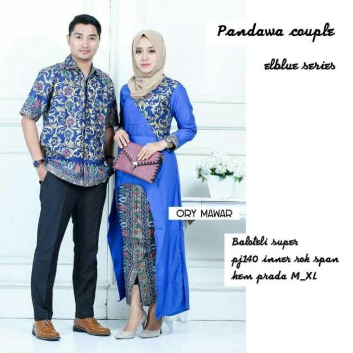 Gambar Setelan Model Baju Batik Couple Sarimbit Pandawa warna biru ... 72bf4a05be