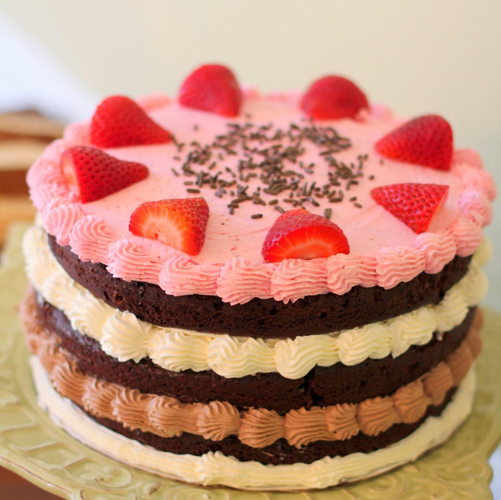 Triple Layer Neapolitan Cake #desserts #dessertrecipes #yummy #delicious #food #sweet