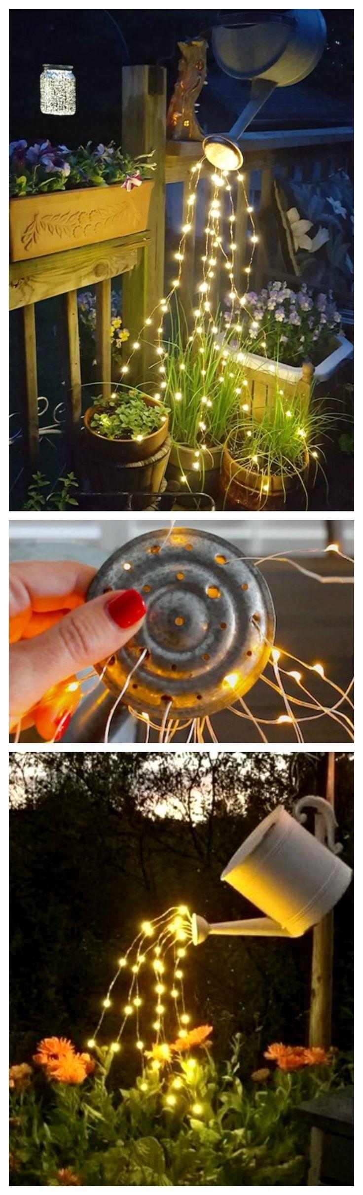 Wie Man Eine Leuchtende Giesskanne Mit Lichterketten Macht So Schon Und So Suss Garten Deko Deko Eine Fairy Lights Diy Outdoor Outdoor Diy Projects