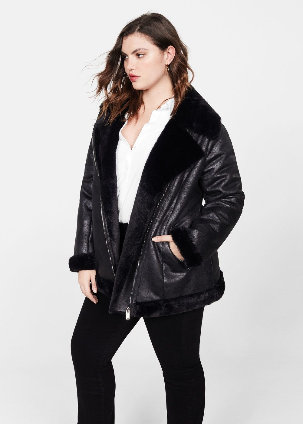 Faux fur biker jacket Plus sizes Violeta by Mango USA
