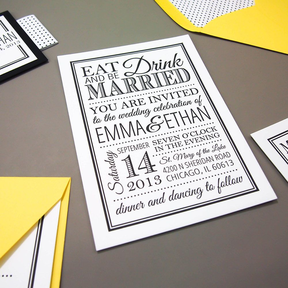 Printable Wedding Invitation and RSVP - Eat, Drink, and Be Married ...