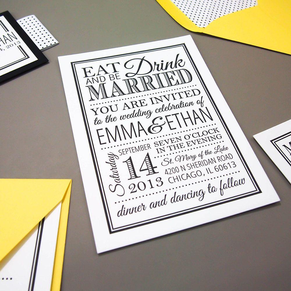 wedding invitation rsvp wording funny%0A Printable Wedding Invitation and RSVP Eat Drink by LadybugPixels